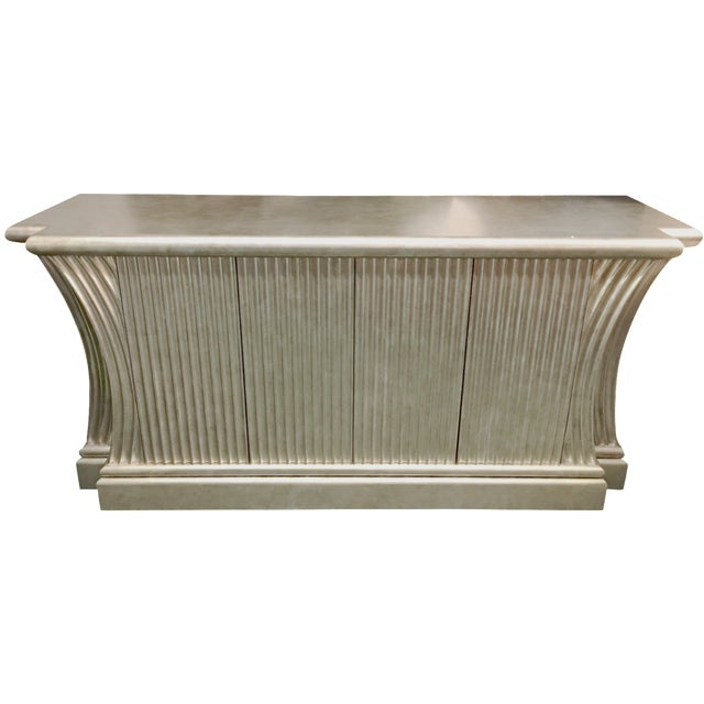 Silver-Leaf Fluted Wood Buffet - Image 1 of 5