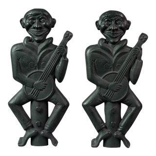 Rare Pair of Banjo Player Andirons