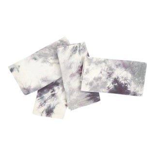Dinner Hand Dyed Gray Purple Marbled Napkins - Set of 4