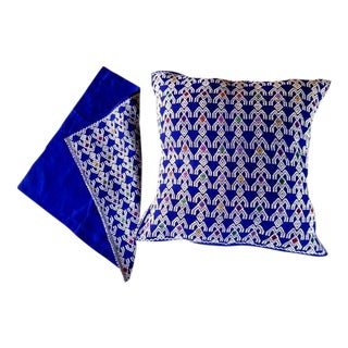 Hand Woven Chiapas Blue Pillow Covers - A Pair