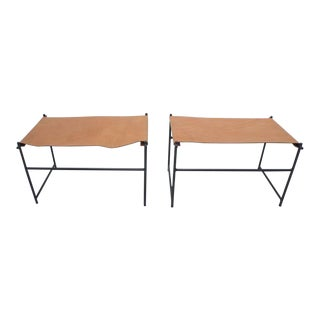 Leather & Iron Benches- A Pair