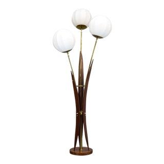 Organic Mid-Century 3-Globe Walnut Floor Lamp