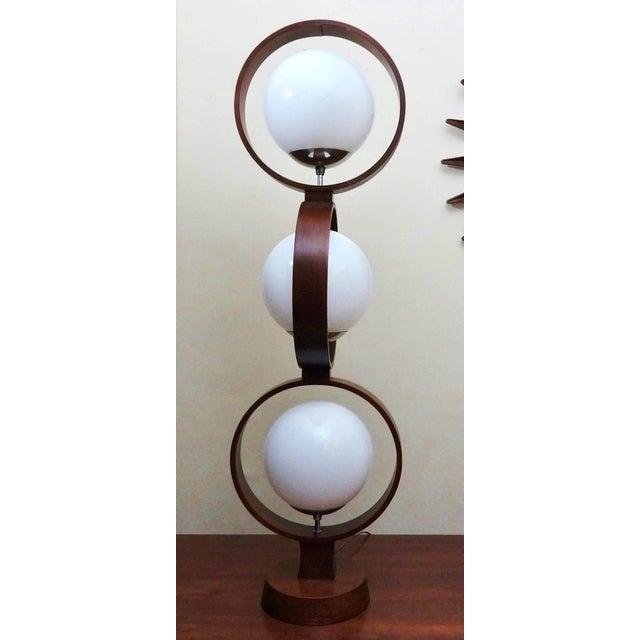 Mid century modern modeline walnut 3 tier lamp chairish for 4 tier floor lamp