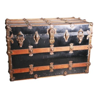 Vintage Industrial Black Flat Top Steamer Trunk