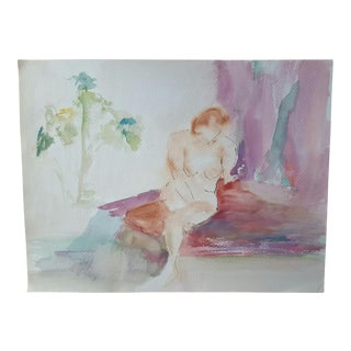 Abstract Lounging Female Nude Watercolor