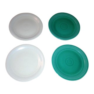 Green & Ivory Vintage Fiesta Salad Plates - S/4