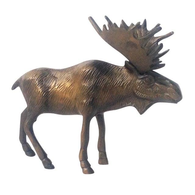 Vintage Brass Moose Statue - Image 1 of 5