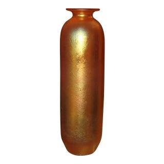 1980s Contemporary Steuben Style Large Gold Vase