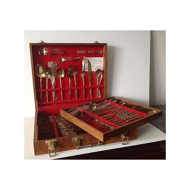 Bronze Bamboo Flatware Set with Case - Set of 101 - Image 3 of 8