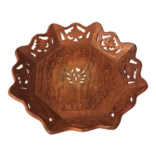 Carved Wood Decorative Bowl