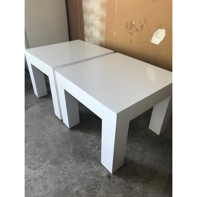 Vintage Mod White Laminate Parsons Tables - a Pair - Image 5 of 5