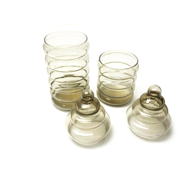 Vintage 1930s Holmegaard Smoky Brown Primula Blown Glass Apothecary Jars - a Pair - Image 3 of 4