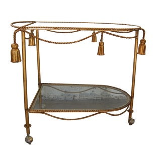 Italian Regency Gilt Rope & Tassel Bar Cart