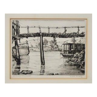 "Nicholas Dunphy ""Old Bridge at Hunters Point"" San Francisco Etching c.1930s"