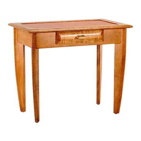 Tiger Maple Leather Top Writing Desk - Image 1 of 4
