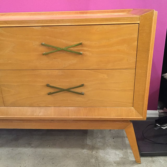 Image of Mid-Century Modern Buffet With Brass Hardware