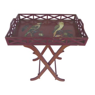 Hand-Painted Bird Tray Stand