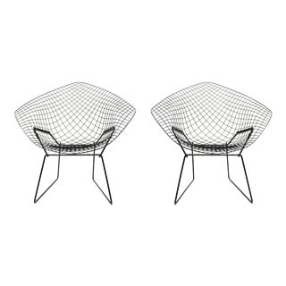 Harry Bertoia Diamond Black Chairs - A Pair