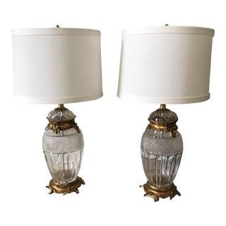 Cut Crystal & Gilt Brass Table Lamps - A Pair