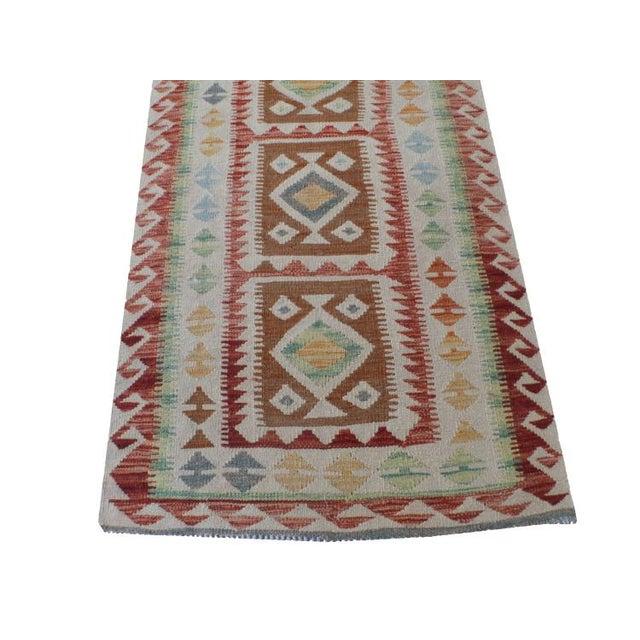 Vintage Afghani Vegetable Dye Handmade Kilim Runner- 2′8″ × 9′4″ - Image 2 of 4