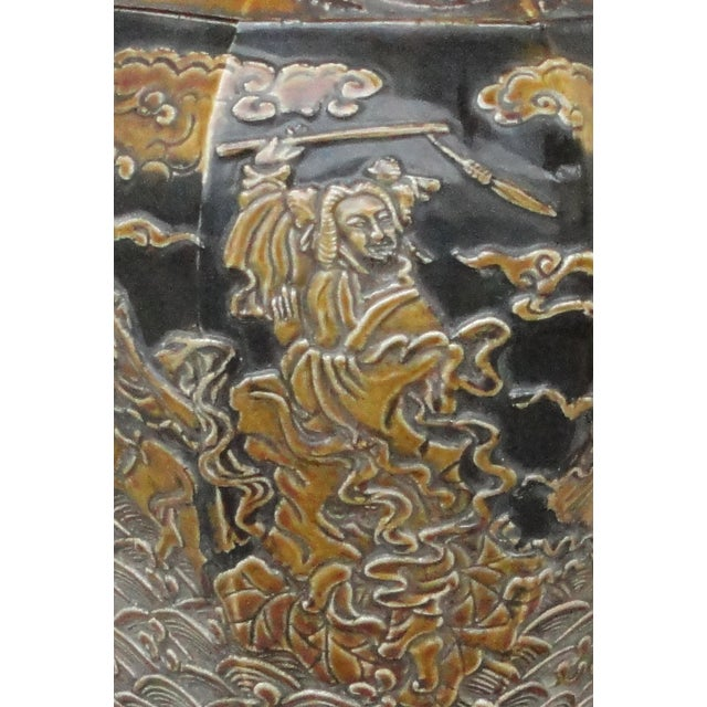 Chinese Eight Immortals Octangle Porcelain Vase - Image 10 of 10