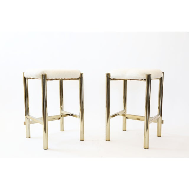Vintage Cal-Syle Brass Bar Stools - A Pair - Image 2 of 7