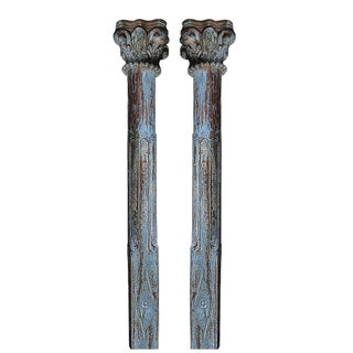 Blue Scroll Column Pair