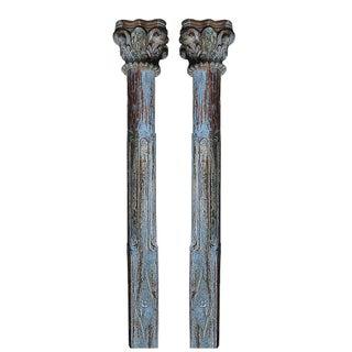 Blue Scroll Column Pair