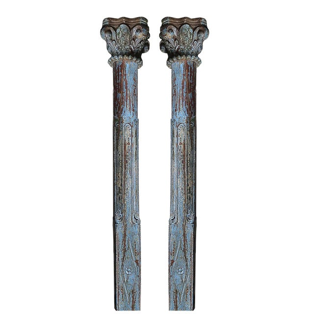 Blue Scroll Column Pair - Image 1 of 3