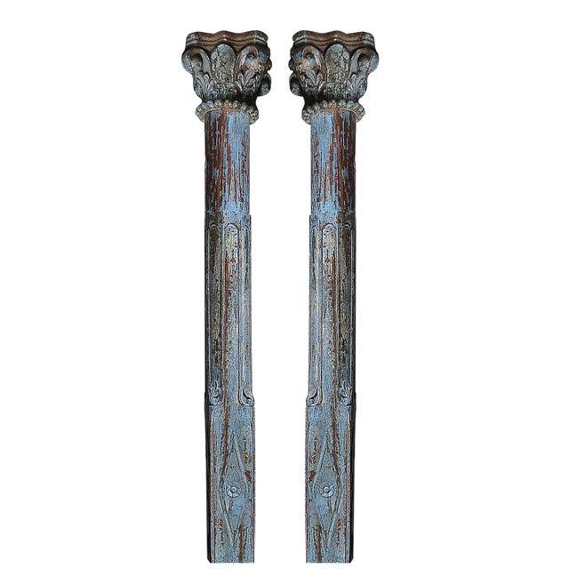 Image of Blue Scroll Column Pair