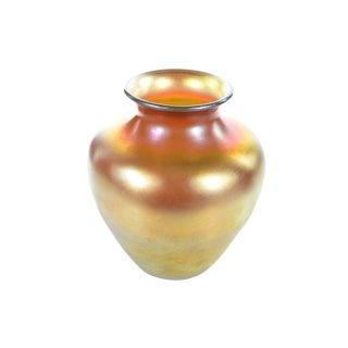 Gold Iridescent Art Glass Vase