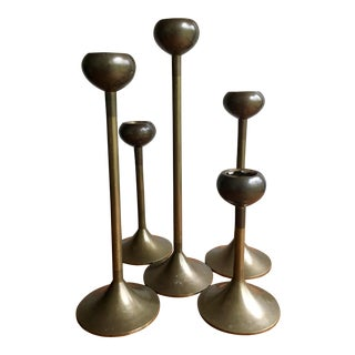 Mid-Century Bronze Candle Holder - Set of 5