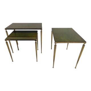 Luxurious Nesting Tables in Brass and Glass in the Style of Aldo Tura