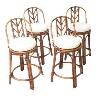 Vintage Bamboo Rattan Arrowback Counter Stools - Set of 4