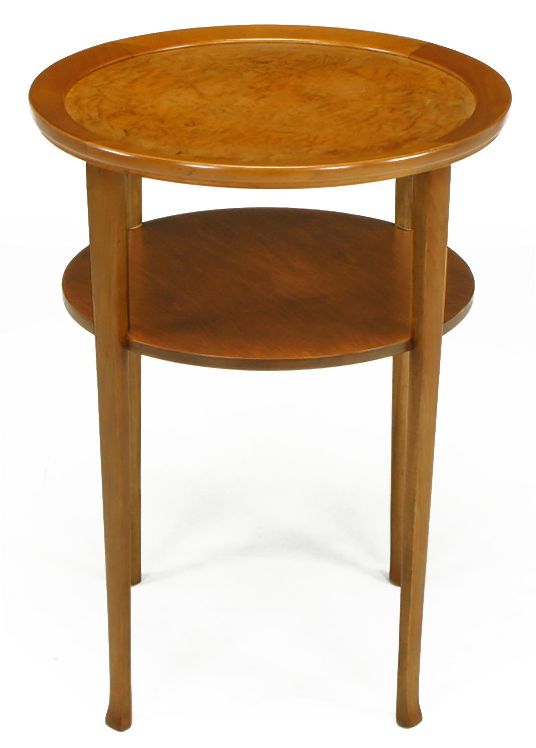 1940s Round Two Tier Maple Side Table With Buffalo Leather Inlay   Image 2  Of