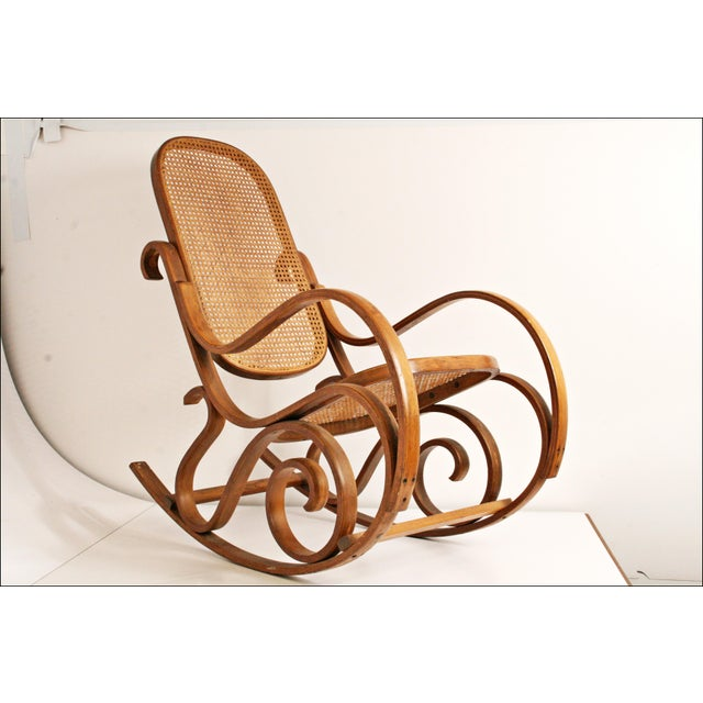 Vintage Thonet-Style Bentwood Cane Rocking Chair - Image 9 of 11