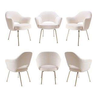 Customizable Saarinen Executive Arm Chair in Crème Velvet, 24k Gold Edition - Set of 6