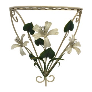 Vintage Italian Tole Flower Wall Shelf Bracket