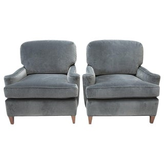 Pair of 1950's Club Chairs in Gray Velvet - a Pair