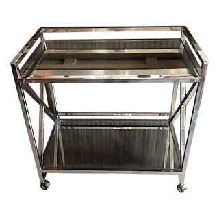 Retro Mirrored Rolling Bar Cart
