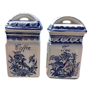 Blue & White Coffee & Tea Canisters, Made in Portugal - A Pair