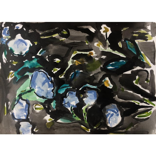 Black Floral Abstract Watercolor Painting - Image 1 of 5