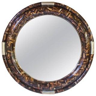 Vintage Signed Enrique Garcia Tessellated Horn Circular Mirror-Columbia, 1970s