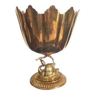 Vintage Brass Scalloped Swan Pedestal Cachepot