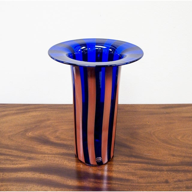 Cenedese Vintage Vetri Murano Glass Striped Vase - Image 4 of 7