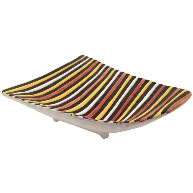 Image of Vintage Italian Striped Ceramic Footed Dish