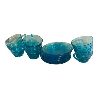 Mid-Century Blue Tea Set - Set of 12