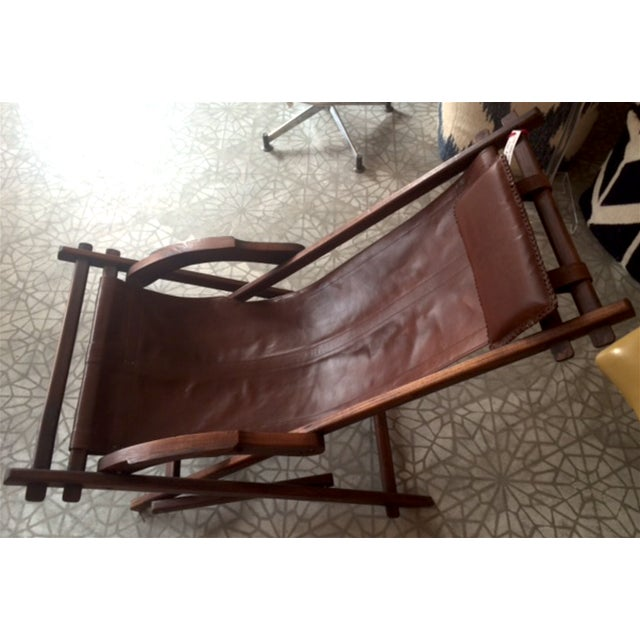 Mid-Century Wooden And Leather Lounge Chair - Image 3 of 4