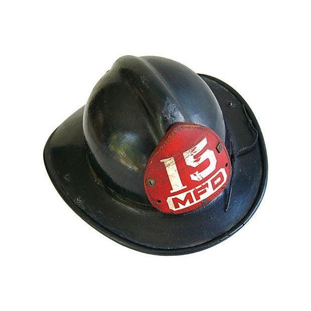 Original Leather Fireman Helmet w/Badge - Image 3 of 7