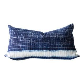 """Indigo Batik Hmong Hemp Pillow Cover - 20"""" x 12"""""""